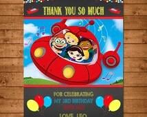 Little Einsteins Birthday Thank You Card Chalkboard - Little Einsteins Thanks - Little Einsteins Party Favors - Little Einsteins Printable