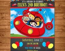 Little Einsteins Birthday Invitation Chalkboard - Little Einsteins Invitation - Little Einsteins Party Favors - Little Einsteins Printable