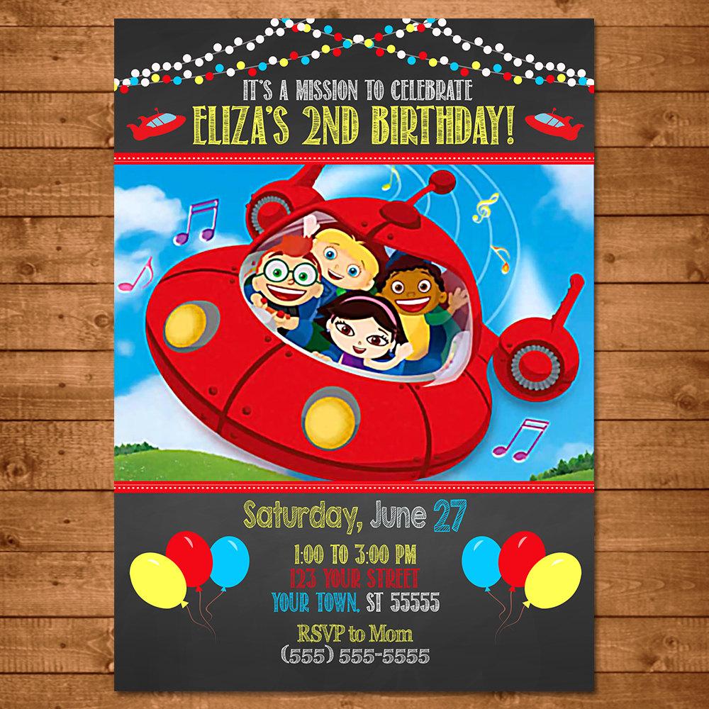 Little Einsteins Birthday Invitation Chalkboard Little