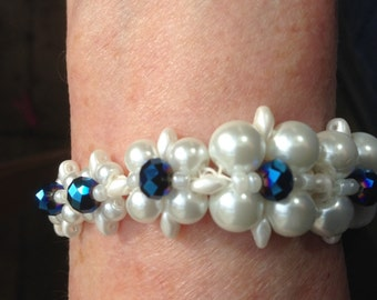 Bracelet of Pearls and Swarovski Crystals