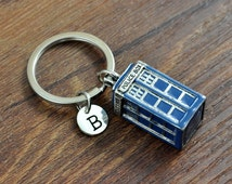 Personalized Tardis Keychain, Doctor Who Keychain, Blue Police Box Keychain, Dr who keychain, Key ring, Keychains, Best friend gift