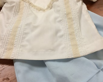 White and Ecru Heirloom Boys Button-on Suit
