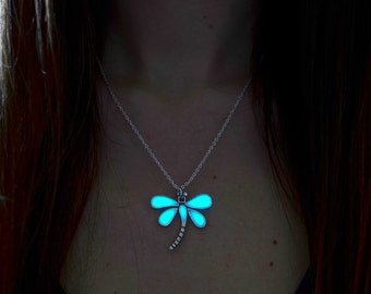 Dragonfly Pendant - Glowing Necklace - Aqua Glow Jewelry - Glow in the Dark Pendant - Gifts for Her - Christmas - Teens Gift - Womens Gift
