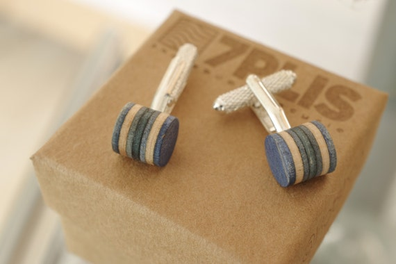 cuff links recycled skateboards handmade blue jeans wood