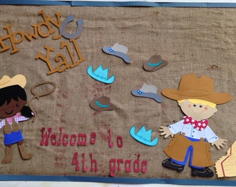Cowboy die cut for bulletin board or birthday party