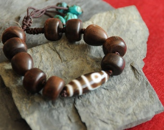 Jewelry for Bema Agate and Turquoise Bead Adjustable Bracelet