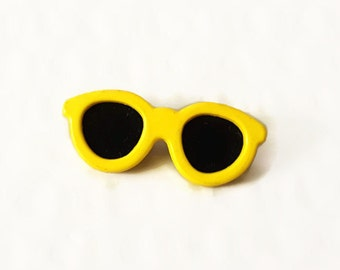 Vintage Pinback Yellow Sunglasses Button Retro 80's New Wave Accessory