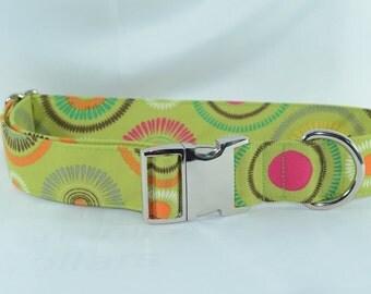 Flower Burst Lime Dog Collar XL with Aluminum Buckle - Ready to Ship
