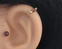 Thin red garnet cartilage earring, natural garnet 2-3mm gemstone bead, helix piercing, bohemian jewelry, 20-22 gauge, 6 -12mm inner diameter