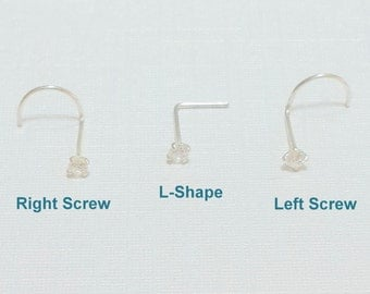 Nose stud, Nose screw,  Sterling Silver Tiny Clear 2mm CZ Crystal Nose Stud  22Gauge (0.6mm), Right and Left Nostril