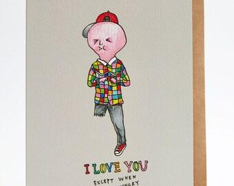 Valentine's card, Funny Valentine's card, Love card, Friendship card, boyfriend card, handmade, hand drawn, girlfriend card, 'Hungry Love'