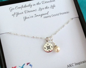 Graduation Gift, Graduation gift for her, Graduate, College graduate gift for her, Compass Necklace, Go Confidently