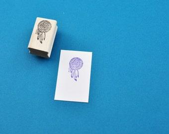 Dreamcatcher Stamp, Hand Carved Rubber Stamp