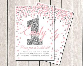 First Birthday Invitation Pink Gray Girls Birthday Confetti Invitation Pink Silver Invitation Personalized Invitation Birthday Invitation