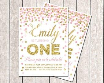 First Birthday Invitation Girl Birthday Invitation Pink Gold Glitter Confetti Invitation Printable Birthday Invitation Gold Pink Invitation