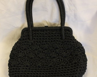 Vintage Hand Crocheted Black Handbag