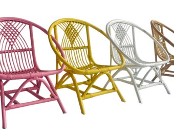 Kids Rattan Chair in Natural, White, Pink & Yellow