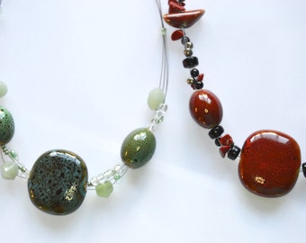 Glass and Clay Bead Statement Necklace
