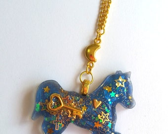 Lovely Navy Horse Necklace - sweet classic gothic lolita fashion