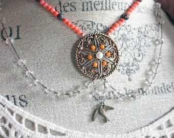 Assemblage Bird Necklace, Upcycled Necklace, Vintage Assemblage, Romantic Assemblage