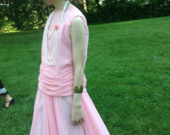 Peach chiffon 1920s party dress
