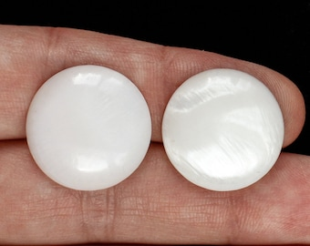Pair of White Mother of Pearl Round Cabochon Gemstones for earrings Craft Supplies Jewelry Making