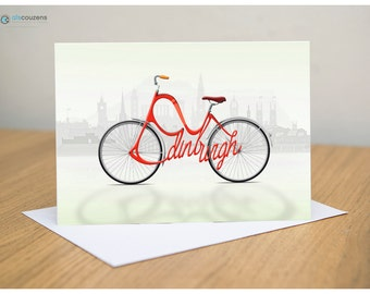 Cycling Greeting Cards, Bicycle City Names, Scotland, Edinburgh, Glasgow, St Andrews Cards