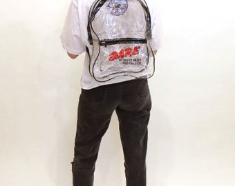 D.A.R.E 90s clear PVC backpack with loot