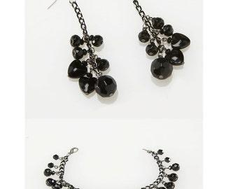 SALE GIFT Black bracelet and Earrings, Gift, gift