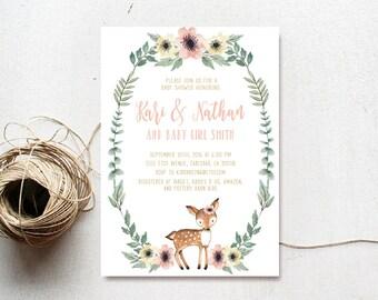 Deer Baby Shower Invitation Girl, Woodland, Boho, Watercolor Flower, Printable Invite (760)