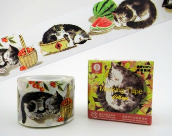 Gorgeous WIDE sleeping cats ink painting 10m Chinese washi tape in box - napping kittens decortative masking paper tape - watermelon kitty