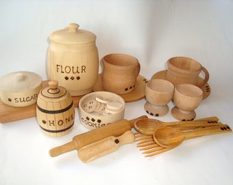 Kitchen set (27pcs) for kids play. Wooden dishes set. Kids food play set. Kids kitchen play set