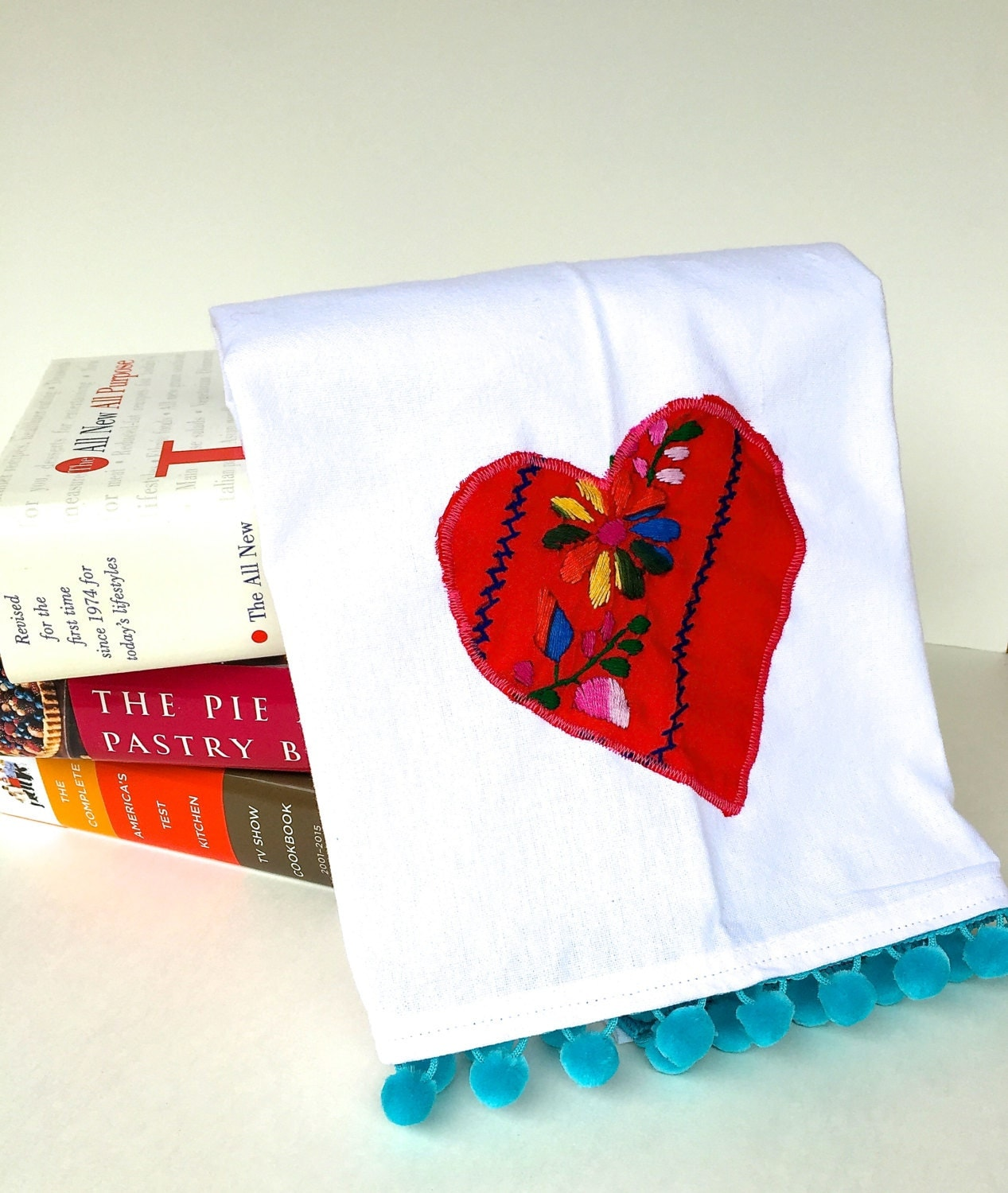 Heart dishtowel mexican dress embroidered applique