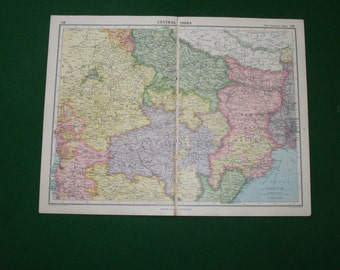 vintage 1935 map of central india antique historical map, india wall art.