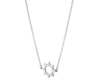 Sun Necklace / Sun and Strength Necklace / Sterling Silver / 14k Gold over Silver