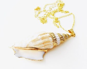 Large Gold Shell Necklace, Shell Jewellery, Shell Pendant, Gold Plated, Gold Electroformed, Beach Jewellry, lalaboho, lala boho.