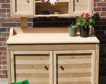 Brand New 4 Foot Premier Style Cedar Potting Bench with Upper and Lower Cabinets & Shelving - Free Shipping