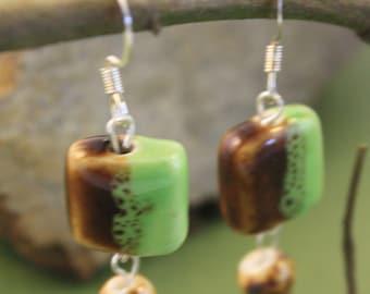 Earthy green and brown dangle earrings