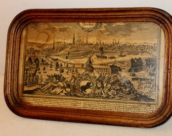 Antique Serving old Berlin beautiful wood decoration as a frame image 1900's Made in Germany Decoration