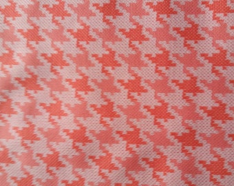1960's-70's Vintage Polyester Orange/Coral/Off White Houndstooth Pattern Double Knit Fabric.