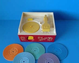 "Fisher Price Vintage ""# 995 Record Player & Records (5) "" 1970's Tested/Works"