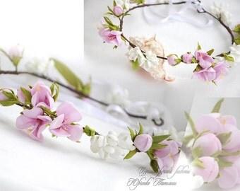 Pink flower crown girl Wedding flower crown spring jewelry wedding crown Floral crown Bridal Crown Bridal flower crown floral head wreath