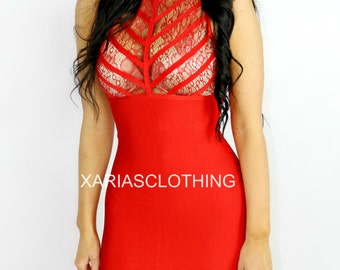 Tessa lace lux bandage dress - Red