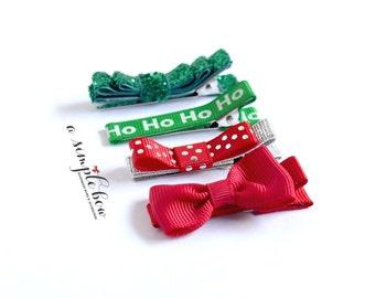 Christmas Hair Clip | Hair Clip Set | Bow Set | Xmas Clip | Holiday Hair Clip | Red Bow Clip | Hair Clips for Toddlers | Baby Hair Clip Bow