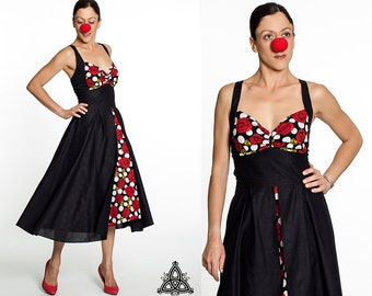 Fifties Dress, 1950s retro dress. Swing dress, midi length halter dress, lbd black dress polka dots flowers, vintage rockabilly retro dress