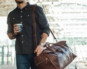 Large Men's Leather Duffle Bag, Travel Holdall, Luggage, Carry All Holdall, Leather Luggage, Carry on Baggage, Vegetable Tanned, Suitcase