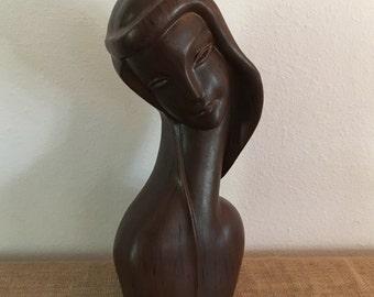 "Mid Century Ceramic Bust Woman Madonna 17 1/2"" Tall"