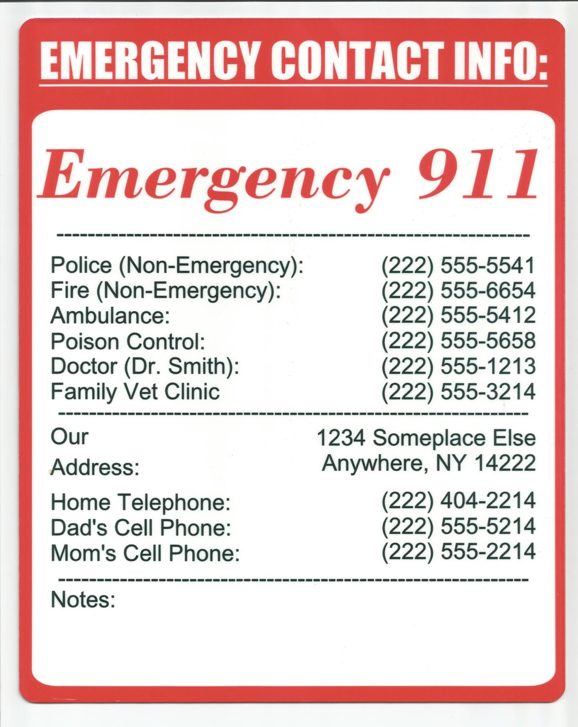 Home Emergency Number Sign
