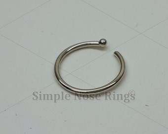 """14kt Solid 585 Gold 8MM Nose Ring Hoop 5/16"""" 20 Gauge Open Hoop with Ball. Tragus, Cartilage, Nose Jewelry. Yellow, White or Rose Gold."""