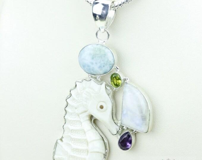 Seahorse DEER ANTLER TOTEM Goddess Face Moon Face Bone Carving 925 S0LID Sterling Silver Pendant + 4MM Chain p3848
